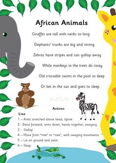 A fun and engaging poem about African animals that has been beautifully illustrated by a member of our team. Ideal to use as part of a jungle theme in your school or early years setting. Preschool Jungle, Preschool Songs, Preschool Themes, Preschool Learning, Learning Resources, African Poems, Handas Surprise, Animal Poems, Poems About Animals