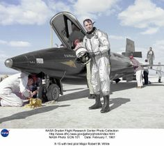 X-15 Rocket Aircraft at Edwards AFB, CA--Major Bob White, test pilot  (I suited him up in his full pressure space suit a number of times)