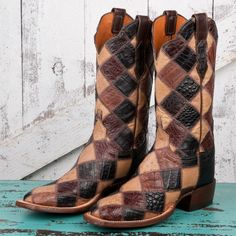 lucchese 2000 boots  Patchwork Caiman/Full Quill Ostrich/Lizard with Squared Toe