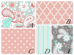 Crib bedding in coral gray and aqua/mintMany by LavenderLinens