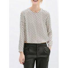 Stylish Scoop Neck Long Sleeve Polka Dot Blouse For Women