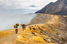 Image result for ijen crater Going To Work, Volcano, Monument Valley, Places To Go, Exotic, Environment, Country Roads, Vacation, Travel