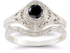 applesofgold.com - Black Diamond Bridal Set in .925 Sterling Silver $299.00
