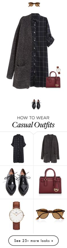 """""""Super casual day outfit !"""" by azzra on Polyvore featuring H&M, Michael Kors, Jeffrey Campbell, Daniel Wellington, Ray-Ban, women's clothing, women's fashion, women, female and woman"""