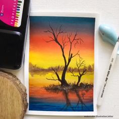 Mountain Landscape Drawing Watercolor Painting - Cartoon Videos Kids For 2019 Oil Pastel Paintings, Oil Pastel Art, Watercolor Paintings, Oil Pastel Drawings Easy, Top Paintings, Watercolor Drawing, Watercolor Artists, Oil Pastels, Indian Paintings