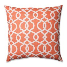 Add the perfect blend of style and comfort to any space in your home with this 23-inch coral and beige lattice damask throw pillow from Pillow Perfect. Sophisticated knife edges and a lovely cotton cover complete the design of this decorative pillow.