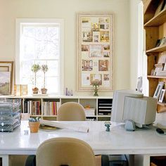 What it is: A spare room converted to a storage-filled office perfect for solo work or meeting with clients. How to do it: Divide a spare room with a long table (this one is made out of a marble top resting on sturdy cubbies) for a desk and conference room combo. Line your walls with book cubbies (or build them in if you have the budget) and fill with reference books, paper sorters, magazine holders, and your favorite accessories. Put a vintage frame around a bulletin board for an unexpected…