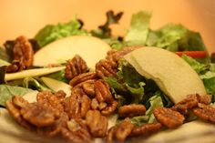 Maple Balsamic vinegarette, salad with apples (change to pears), candied walnuts, creamy cheese, maybe crasins.  YUM