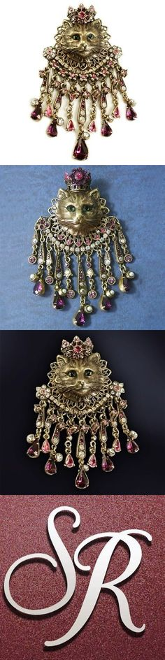 Pins and Brooches 50677: New Sweet Romance Elizabethan Style Feline Royal Kitty Cat Pin Brooch ~Usa Made -> BUY IT NOW ONLY: $56.69 on eBay!