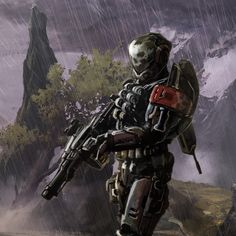 Emile with halo 4 weapons - I like the background environment. The rain can add to the setting to tell the story and set the mood.