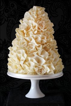 White Chocolate Roses – Rich Chocolate Torte Cake with Chocolate Ganache Chocolate Torte Cake, Chocolate Ganche, Chocolate Roses, White Chocolate Ganache, Ruffle Cake, Occasion Cakes, Let Them Eat Cake, Cupcake Cakes, Cupcakes