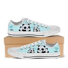 Baby Panda - Women's Low Top Canvas Sneakers In White