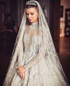 This celestial gown inspiration totally swayed us! Look at those intricate details incorporating swarovski beading paired with classic tiara and drop veil is purely magical, don't you agree? Wedding Robe, Dream Wedding Dresses, Bridal Dresses, Wedding Gowns, Zuhair Murad Bridal, Zuhair Murad Dresses, Bridal Beauty, Beautiful Gowns, Dream Dress
