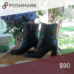 Via Spiga Black Leather Calf Boots NWOT If you wear 9 to 9.5 these will fit.  I wear size down and they are too large. Via Spiga Shoes Ankle Boots & Booties