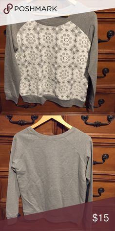 Lace detailed pullover Grey pullover sweatshirt with white lace detail. Brand new. Unsold inventory from our now closed online boutique. Tops Sweatshirts & Hoodies