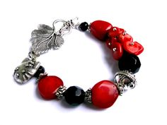 Gemstone bracelet.Coral bracelet.red bracelet.Red by Jewelry2Heart