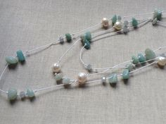 3 Strand Stone Pearl Necklace // Amazonite Green Stones // Fresh Water Pearls // Silk Cord // Salty Sparrow Designs  on Etsy, $32.00