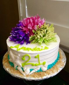 Shabby Chic Happy Birthday Cake