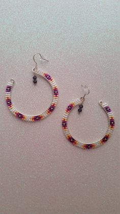 Items similar to White Hoopz on Etsy Beaded Earrings Native, Beaded Earrings Patterns, Seed Bead Earrings, Diy Earrings, Beaded Necklace, Beaded Bracelets, Brick Stitch Earrings, Beadwork Designs, Bead Jewellery