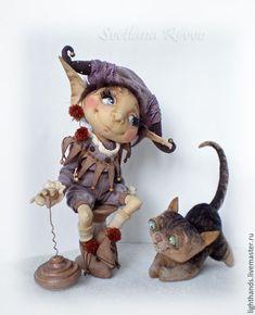 Купить Домашний эльфик Жан-Люк и кот Леон - сиреневый, кукла ручной работы