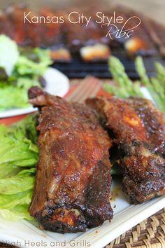 Kansas City Style Ribs Tastiest ribs I ever did try. Bbq Ribs, Pork Ribs, Rib Recipes, Dinner Recipes, Cooking Recipes, Grilling Recipes, Recipies, Pork Dishes, Main Meals