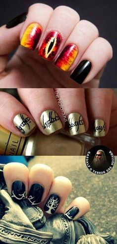 25 +> Lord of the Ring Nails ♥. Someone does that for me for the Hobbit premiere . Lord of the Ring Nails ♥. White Nail Art, White Nails, Nail Art Blue, Black Nail, Map Nails, Tumblr Nail Art, O Hobbit, J. R. R. Tolkien, Manicure E Pedicure
