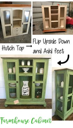 The Top of an Entertainment Center is flipped upside down and repurposed into a farmhouse cabinet! #RoughCountryFurniture