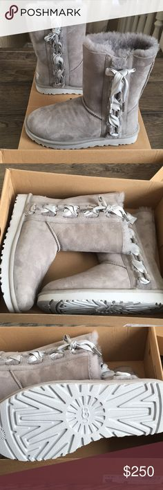 Brand New Grey Ugg Pala ✨ Brand New With 📦Never worn - Gray Ugg Pala. These boots are gorgeous!! Grey with the grey ribbons on the side. These are super warm and super soft as always! I ship same day and include 🎁 as a thank you for shopping in my closet! UGG Shoes Lace Up Boots