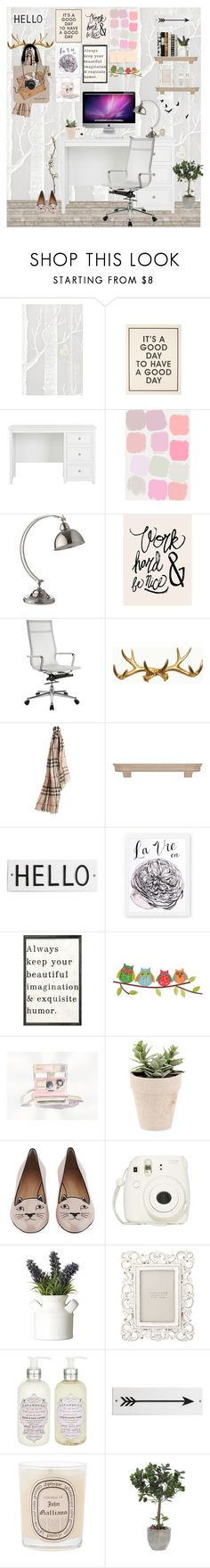 """Minimal Desk"" by bittersweet89 ❤ liked on Polyvore featuring interior, interiors, interior design, home, home decor, interior decorating, Cole & Son, Heathfield & Co., DMI and Burberry"