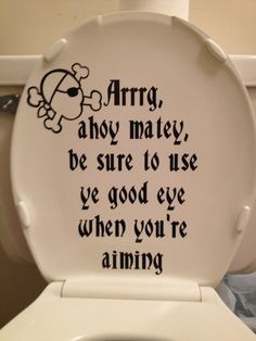 Pirate Message Toilet Lid Design by Vinylly on Etsy, $16.00