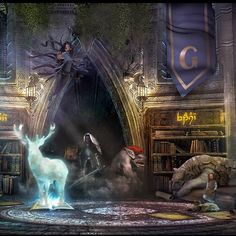 Illustrate a living library of fantasy by tarkomp