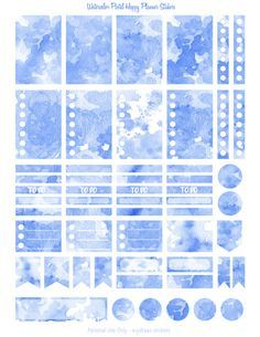 The blue version of a series of watercolor texture stickers for the Happy Planner. Boxes, flags, checklists, dots... Anything you need for a basic week in your Mambi or similarly sized planner. If you use a Silhouette, the blackout files just below will make it easy to create cut lines. All planner sticker pages are on US letter size paper 8.5 x 11 inches.