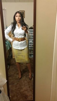The limited shirt and pencil skirt