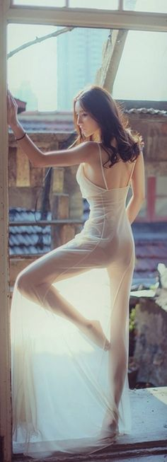 Morning stretches in see through dresses