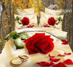 Hot Sell High Quality Romantic Style Bright Love Rose 4 Pieces Bedding Sets - beddinginn.com