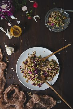 Farro & Asparagus Salad with Sesame-Miso Dressing on Two Red Bowls