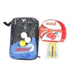Table Tennis Set 2 Racket + 3 Ball + 1 Racket Pouch Long Handle Shake-hand Ping Pong Paddle