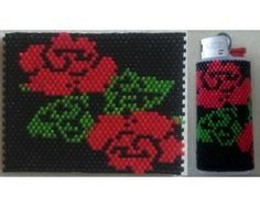 Filet Rose Mini Lighter Cover bead pattern for sale at Bead Patterns Boutique
