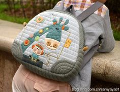 This is gorgeous! Patchwork Bags, Quilted Bag, Diaper Bag Purse, Animal Bag, Backpack Pattern, Back Bag, Fabric Bags, Kids Bags, Cute Bags
