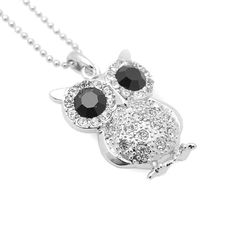 Silver Plated Black Eyes Owl with Chain