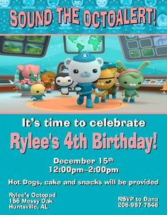 12 Printed Octonauts party Invitations