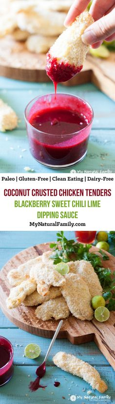 Coconut Crusted Chicken Tenders with Blackberry Sweet Chili Lime Dipping Sauce Recipe {Paleo, Clean Eating, Gluten Free, Dairy Free}
