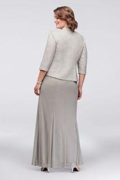 dec6716e75f4 3 4 Sleeve Jacquard Jacket Plus Size Dress