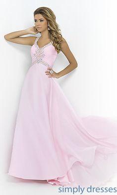 V-neck Floor Length Blush Dress at SimplyDresses.com