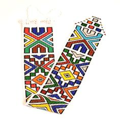 Ndebele Beadwork.  The Ndebele are some of the best known beadworkers in Africa, having worked with beads for hundreds of years. Along with the Zulu, who are also in South Africa, the Ndebele are known for their amazing beadwork. Geometric designs and colors can be interpreted by other Ndebele people. Each piece's design is unique to the exact beadworker and her family.    This is not done on a loom. Each bead is painstakingly, individually attached at a 45 degree slant in a very unique…