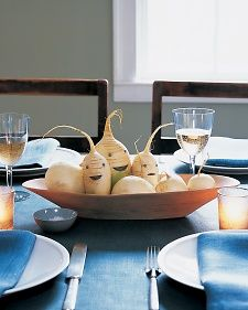 Step aside, pumpkins -- here's an unexpected and inviting accent for the dinner table. We used daikon radishes and turnips, but any root vegetable will work.  | Martha Stewart