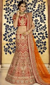 Red Mustard  Color Embroidered Art Silk Cholie Skirt  #ghagracholi2016 #girlslehengacholi Embrace timeless elegance draping this red mustard color embroidered art silk cholie skirt. The patch, lace, resham and stones work appears to be chic and ideal for any occasion. Upon request we can make round front/back neck and short 6 inches sleeves regular cholie blouse also. USD $ 293 (Around £ 202 & Euro 223)