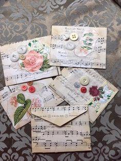 Envelope botanical floral vintage music book page junk journal embellishmen Journal Cards, Junk Journal, Journal Diary, Paper Art, Paper Crafts, Book Page Crafts, Floral Vintage, How To Make An Envelope, Music Crafts