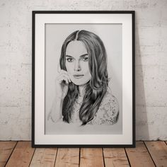 Keira Knightley Portrait Drawing, Photo to Sketch, Pencil Sketch. Photo Sketch, Keira Knightley, Handmade Art, Personalized Gifts, Fine Art Prints, Art Pieces, Pencil, Portrait, Drawings
