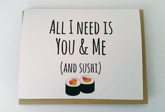 You and Me and Sushi: Valentine's Day Card, Anniversary Card, Love Card, Friendship Card